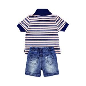 Conjuntinho Infantil / Baby Masculino Polo + Bermuda Em Piquet Listrado Off - 1+1 Delave