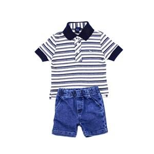 Conjuntinho Infantil / Baby Masculino Polo + Bermuda Em Piquet Listrado Off - 1+1 Stone