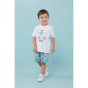 """Conjunto """"beagle surf"""" t shirt + bermuda cos de elastico e cadarço com ponteira Azul Claro"""