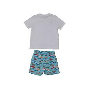 """Conjunto """"Beagle Surf"""" T-Shirt Estampada + Bermuda Com Cós De Elástico E Cadarço Com Ponteira AZUL CLARO"""