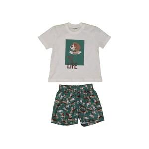 "Conjunto ""Beagle"" T-Shirt Estampada + Bermuda Com Cós De Elástico VERDE"