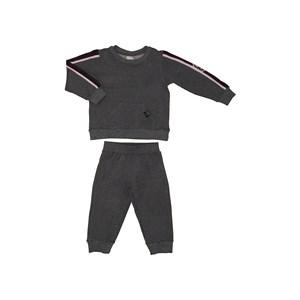 Conjunto Abrigo Blusa Com Faixas Laterais E Bolso Frontal + Calça Cós De Elástico Com Punho MESCLA CLARO