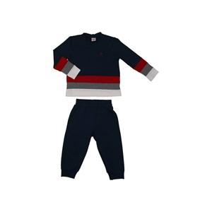 Conjunto Abrigo Blusa Com Recortes + Calça Com Bolsos E Punho Marinho