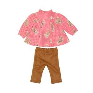 Conjunto baby feminino bata bufante com estampa de ursinho + calça MARROM