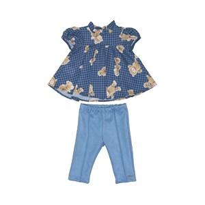 Conjunto baby feminino bata manga curta com estampa de ursinho + calça AZUL JEANS