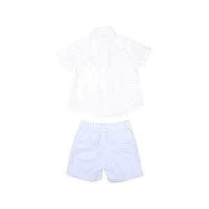 Conjunto Baby Menino Camisa Manga Curta + Bermuda Elástico Azul Claro