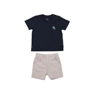 Conjunto Baby Menino Polo Lisa + Bermuda Elástico Estampada Caqui