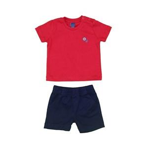 Conjunto Baby Menino Polo Lisa + Bermuda Elástico Estampada Marinho