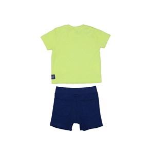 Conjunto Baby Menino T-Shirt Estampada + Bermuda Elástico Marinho