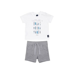 Conjunto Baby Menino T-Shirt Estampada + Bermuda Elástico Mescla Claro