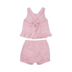 Conjunto Bata Babados Com Botões + Short Balonê Pink