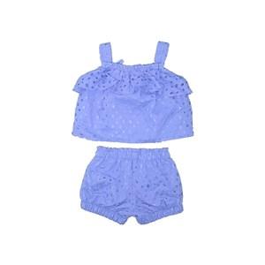 Conjunto Bata Franzida + Short Balonê Azul Claro