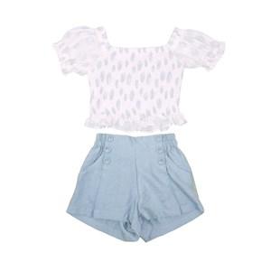 Conjunto Blusa Ciganinha Com Mangas Bufantes + Short Cintura Alta Azul
