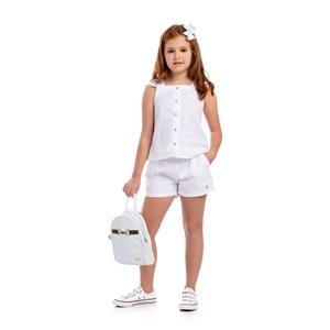 Conjunto Blusa Com Botões + Short Com Cinto Branco