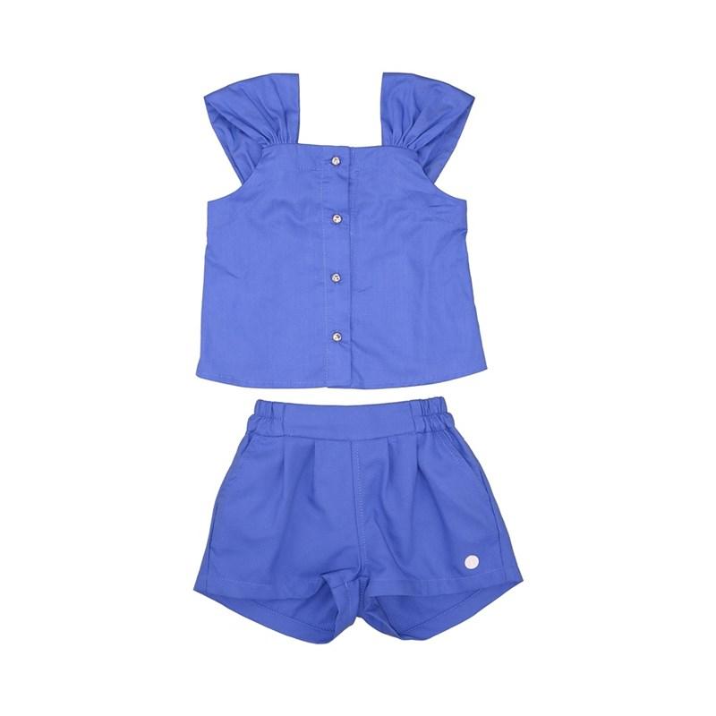 Conjunto Blusa Com Botões + Short Com Cinto Royal