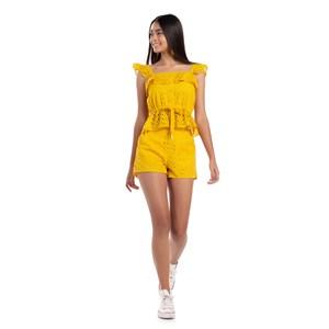 Conjunto Blusa De Babado Franzido + Short Cintura Alta Amarelo Canario