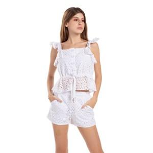 Conjunto Blusa De Babado Franzido + Short Cintura Alta Branco