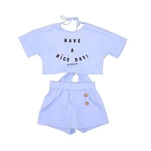 Conjunto Blusa Manga Baby Look Costas Aberta Com Amarração E Short-Saia Azul Claro