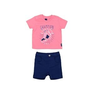 Conjunto Camiseta Com Aplique + Bermuda Moletinho Marinho