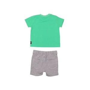 Conjunto Camiseta Com Aplique + Bermuda Moletinho Mescla Claro