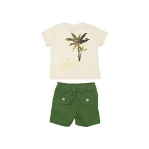 Conjunto Camiseta Com Bolso + Bermuda Sarja Com Elástico Verde