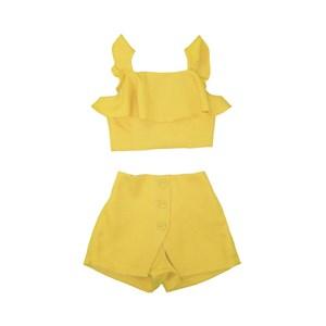 Conjunto Cropped Babados + Short Cintura Alta Com Botões Amarelo Canario