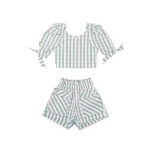Conjunto Cropped Mangas Bufantes + Short Cintura Alta Xadrez Verde