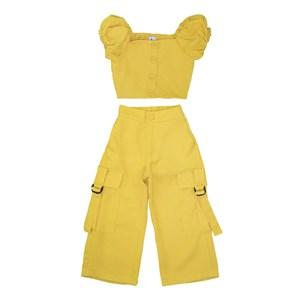 Conjunto Cropped + Pantacourt Amarelo Canario