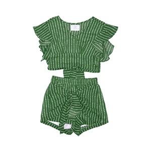 Conjunto Cropped + Short-Saia Amarração Frontal Verde