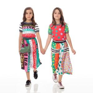 Conjunto feminino Infanitl / kids blusa em moletinho com lycra estampado + saia em voal com polieste VERDE