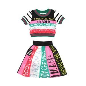 Conjunto Feminino Infanitl / Kids Blusa Em Moletinho Com Lycra Estampado + Saia Em Voal Com Polieste Pink