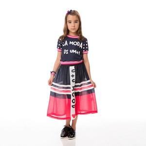 Conjunto Feminino Infanitl / Kids Blusa Em Moletinho Com Lycra Estampado + Saia Em Voal Com Polieste Marinho