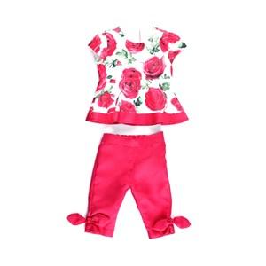 Conjunto Feminino Infantil / Baby Bata + Calça Em Alfaiataria Sarjada - 1+1 Vermelho