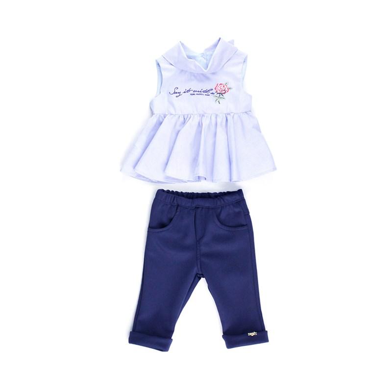 Conjunto Feminino Infantil / Baby Bata + Calça Em Neoprene Liso E Tricoline Listrado - 1+1 Marinho