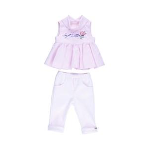 Conjunto Feminino Infantil / Baby Bata + Calça Em Neoprene Liso E Tricoline Listrado - 1+1 Rosa Claro