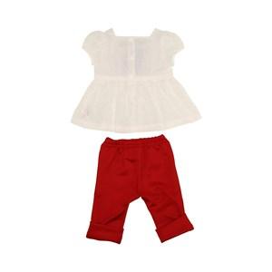 Conjunto Feminino Infantil / Baby Bata + Calça Manga Curta Em Neoprene Liso - 1+1 Vermelho