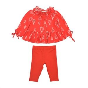 Conjunto Feminino Infantil / Baby Bata Em Crepe Com Lycra Estampado + Calça Em Moletinho De Polieste