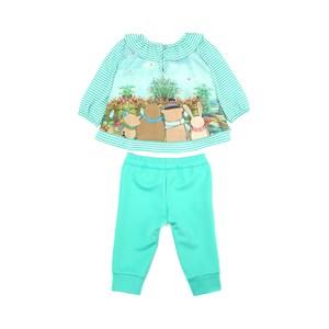 Conjunto Feminino Infantil / Baby Bata Em Crepe Com Lycra Estampado + Calça Em Neoprene - Um Mais Um