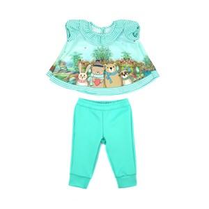 Conjunto Feminino Infantil / Baby Bata Em Crepe Com Lycra Estampado + Calça Em Neoprene - Um Mais Um Verde