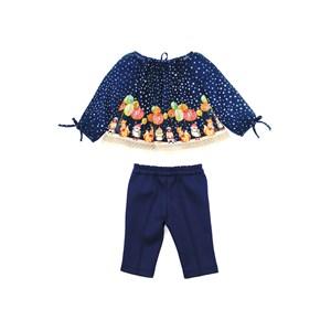 Conjunto Feminino Infantil / Baby Bata Em Voil De Poliester Estampada + Calça Em Neoprene - Um Mais Marinho