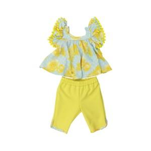 Conjunto Feminino  Infantil / Baby Bata + Fuseau Em Crepe Off White E Neoprene Liso - Um Mais Um Amarelo Canario