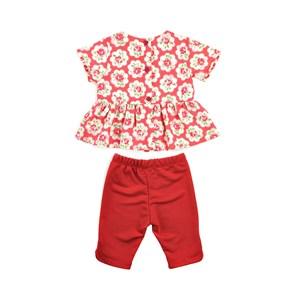 Conjunto Feminino Infantil / Baby Bata + Fuseau Em Moletinho Com Lycra E Tricoline Galles - Um Mais Vermelho