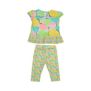 - Conjunto Feminino Infantil / Baby Bata Manga Curta + Fuseau Em Cotton E Crepe De Chine - 1+1 Azul Claro