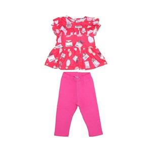 Conjunto Feminino Infantil / Baby Bata Manga Curta + Fuseau Em Cotton E Moletinho De Algodão - 1+1 Pink