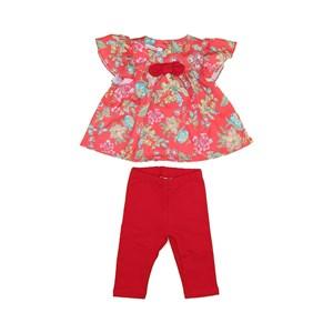 Conjunto Feminino Infantil / Baby Bata Manga Curta + Fuseau Em Crepe Donna E Moletinho  - 1+1 Vermelho