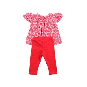 Conjunto Feminino Infantil / Baby Bata Manga Curta + Legging Em Cotton E Moletinho Com Lycra -1+1 Vermelho