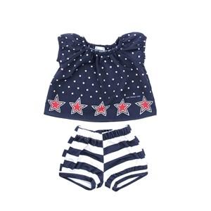 Conjunto Feminino Infantil / Baby Bata + Short Em Crepe Liso E Moletinho Off White - Um Mais Um Marinho