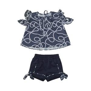 Conjunto Feminino Infantil / Baby Bata + Short Em Organza Engomada E Sarja Alfaiataria - Um Mais Um Marinho