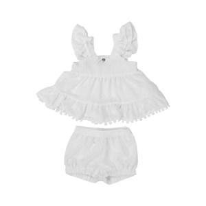 Conjunto Feminino Infantil / Baby Bata + Short Em Transparência Enrugada Em Galao Pom Pom - Um Mais Branco