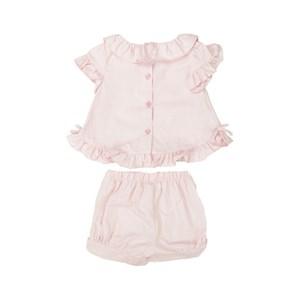 Conjunto Feminino Infantil / Baby Bata + Short Em Tricoline Quadriculada - Um Mais Um Rosa Claro